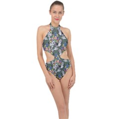 Vintage flowers and birds pattern Halter Side Cut Swimsuit