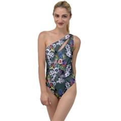 Vintage flowers and birds pattern To One Side Swimsuit