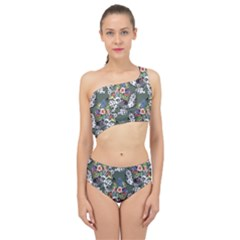 Vintage flowers and birds pattern Spliced Up Two Piece Swimsuit
