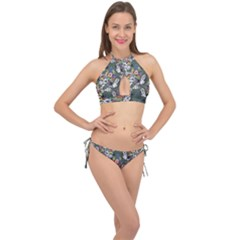 Vintage flowers and birds pattern Cross Front Halter Bikini Set