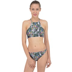 Vintage flowers and birds pattern Racer Front Bikini Set