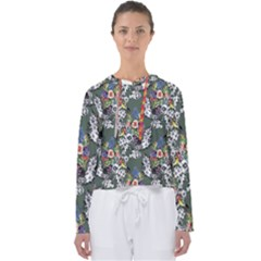 Vintage flowers and birds pattern Women s Slouchy Sweat