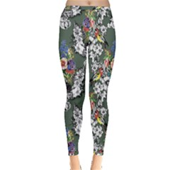 Vintage flowers and birds pattern Inside Out Leggings