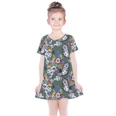 Vintage flowers and birds pattern Kids  Simple Cotton Dress
