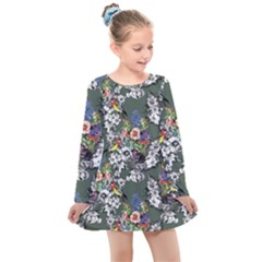 Vintage flowers and birds pattern Kids  Long Sleeve Dress