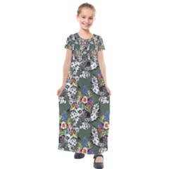 Vintage flowers and birds pattern Kids  Short Sleeve Maxi Dress