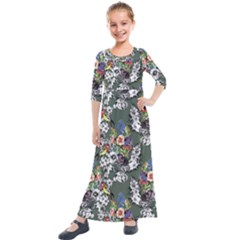 Vintage flowers and birds pattern Kids  Quarter Sleeve Maxi Dress