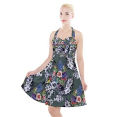Vintage flowers and birds pattern Halter Party Swing Dress