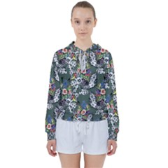 Vintage flowers and birds pattern Women s Tie Up Sweat