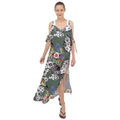 Vintage flowers and birds pattern Maxi Chiffon Cover Up Dress