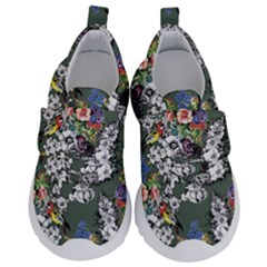 Vintage flowers and birds pattern Kids  Velcro No Lace Shoes