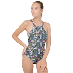 Vintage flowers and birds pattern High Neck One Piece Swimsuit
