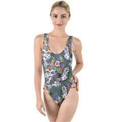 Vintage flowers and birds pattern High Leg Strappy Swimsuit