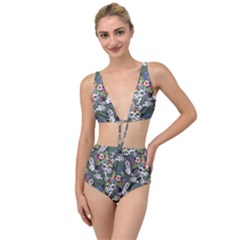 Vintage flowers and birds pattern Tied Up Two Piece Swimsuit