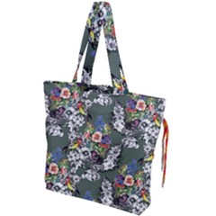 Vintage flowers and birds pattern Drawstring Tote Bag