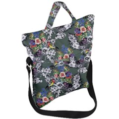 Vintage flowers and birds pattern Fold Over Handle Tote Bag