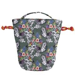 Vintage flowers and birds pattern Drawstring Bucket Bag
