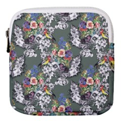 Vintage flowers and birds pattern Mini Square Pouch