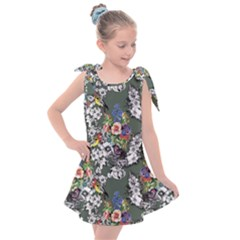 Vintage flowers and birds pattern Kids  Tie Up Tunic Dress