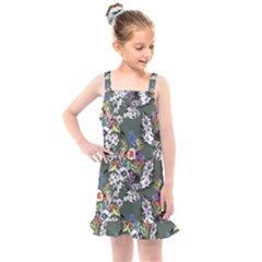 Vintage flowers and birds pattern Kids  Overall Dress