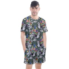 Vintage flowers and birds pattern Men s Mesh Tee and Shorts Set