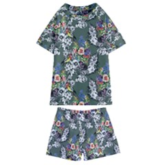 Vintage flowers and birds pattern Kids  Swim Tee and Shorts Set