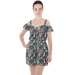 Vintage flowers and birds pattern Ruffle Cut Out Chiffon Playsuit
