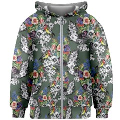 Vintage flowers and birds pattern Kids  Zipper Hoodie Without Drawstring