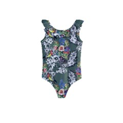 Vintage flowers and birds pattern Kids  Frill Swimsuit