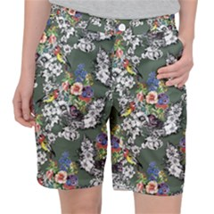Vintage flowers and birds pattern Pocket Shorts