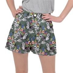 Vintage flowers and birds pattern Stretch Ripstop Shorts