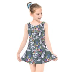 Vintage flowers and birds pattern Kids  Skater Dress Swimsuit