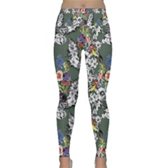 Vintage flowers and birds pattern Lightweight Velour Classic Yoga Leggings
