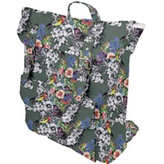 Vintage flowers and birds pattern Buckle Up Backpack