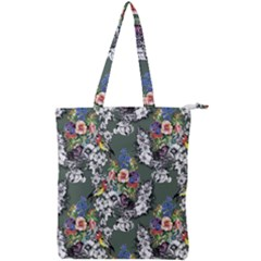 Vintage flowers and birds pattern Double Zip Up Tote Bag