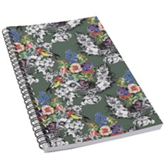 Vintage flowers and birds pattern 5.5  x 8.5  Notebook
