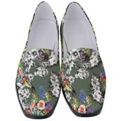 Vintage flowers and birds pattern Women s Classic Loafer Heels