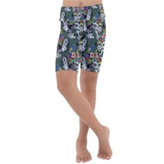 Vintage flowers and birds pattern Kids  Lightweight Velour Cropped Yoga Leggings