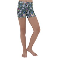 Vintage flowers and birds pattern Kids  Lightweight Velour Yoga Shorts