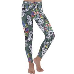 Vintage flowers and birds pattern Kids  Lightweight Velour Classic Yoga Leggings