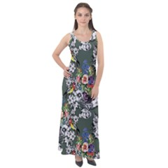 Vintage flowers and birds pattern Sleeveless Velour Maxi Dress
