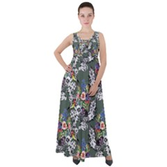 Vintage flowers and birds pattern Empire Waist Velour Maxi Dress