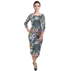 Vintage flowers and birds pattern Quarter Sleeve Midi Velour Bodycon Dress