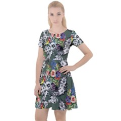 Vintage flowers and birds pattern Cap Sleeve Velour Dress