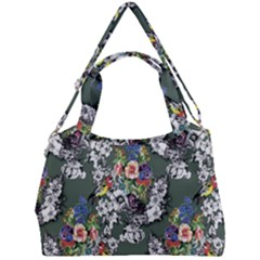 Vintage flowers and birds pattern Double Compartment Shoulder Bag