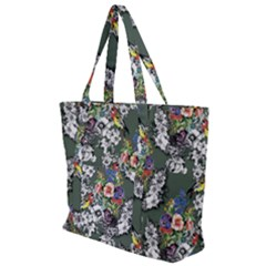 Vintage flowers and birds pattern Zip Up Canvas Bag
