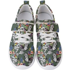 Vintage flowers and birds pattern Men s Velcro Strap Shoes