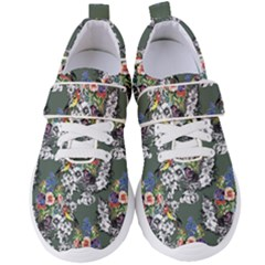 Vintage flowers and birds pattern Women s Velcro Strap Shoes