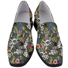 Vintage flowers and birds pattern Women s Chunky Heel Loafers