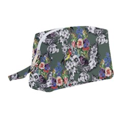 Vintage flowers and birds pattern Wristlet Pouch Bag (Medium)